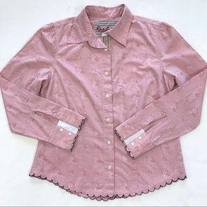Robert Graham Button Front Scalloped Hem Shirt